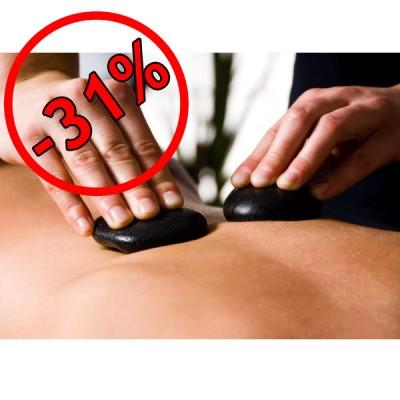 Hotstone Massage (50min.) + Sauna Dagkaart + Glas Cava